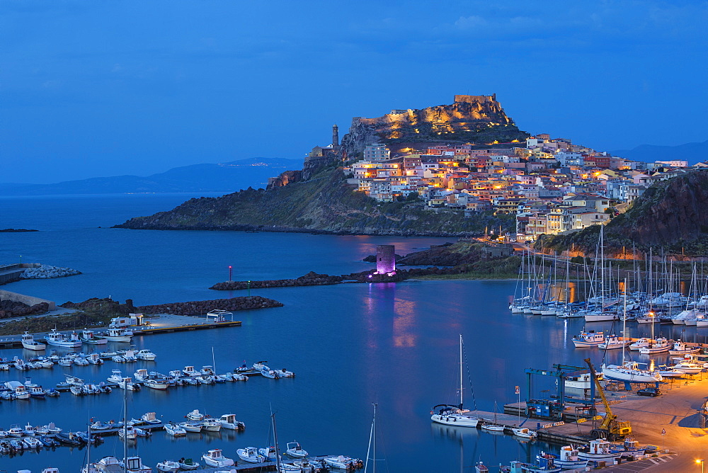 View over marina towards ancient castle, Castelsardo, Sassari Province, Sardinia, Italy, Mediterranean, Europe