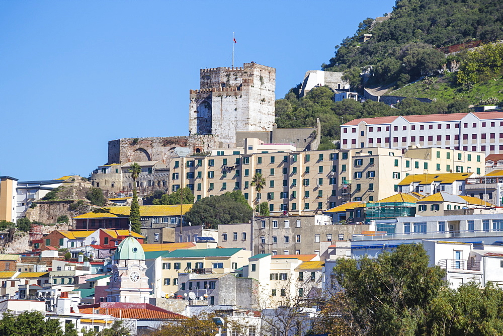 View of city center and Moorish castle, Gibraltar, Mediterranean, Europe