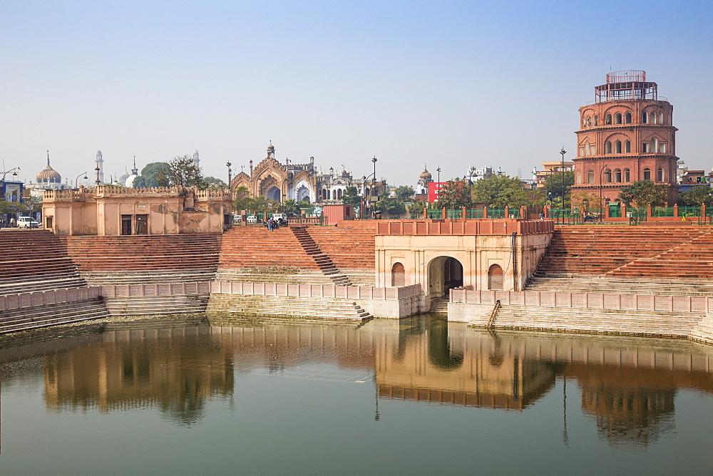 Hussainabad pond and Satkhanda watchtower, Lucknow, Uttar Pradesh, India, Asia