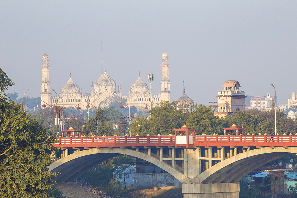 Bridge over Gomti River with Bara Imambara in distance, Lucknow, Uttar Pradesh, India, Asia