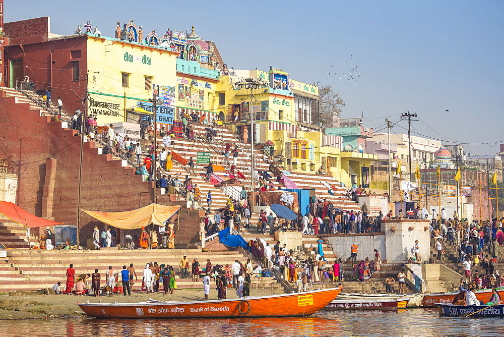 View towards Gauri Kedareshwar Temple at Vijaya Nagaram and Kedar Ghat, Varanasi, Uttar Pradesh, India, Asia
