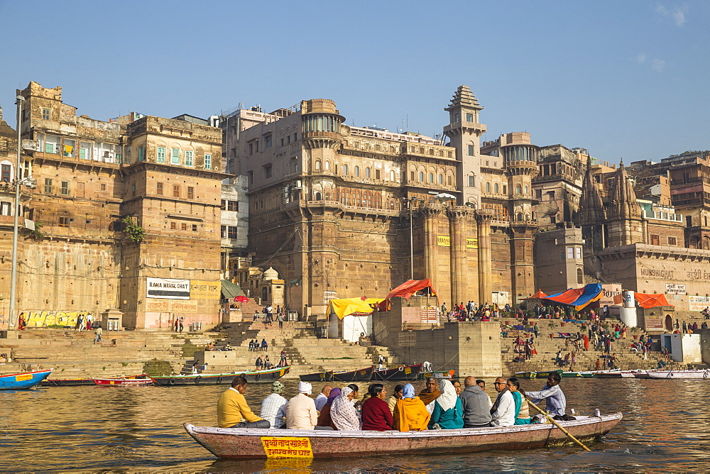 View towards Brijrama Palace Hotel at Darbanga Ghat, Varanasi, Uttar Pradesh, India, Asia
