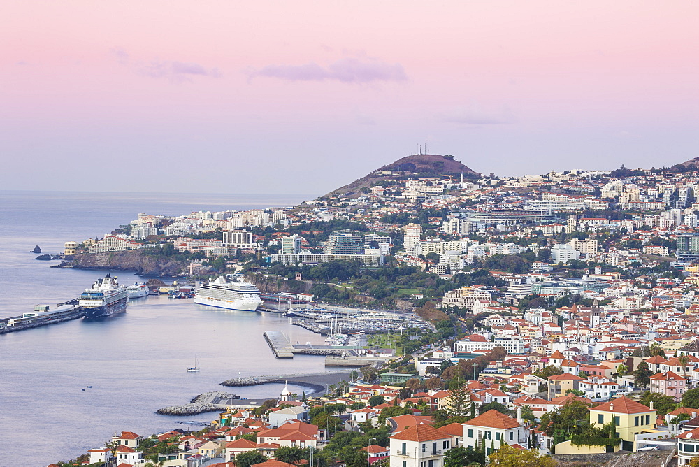 View of Funchal looking towards harbour, Funchal, Madeira, Portugal, Atlantic, Europe