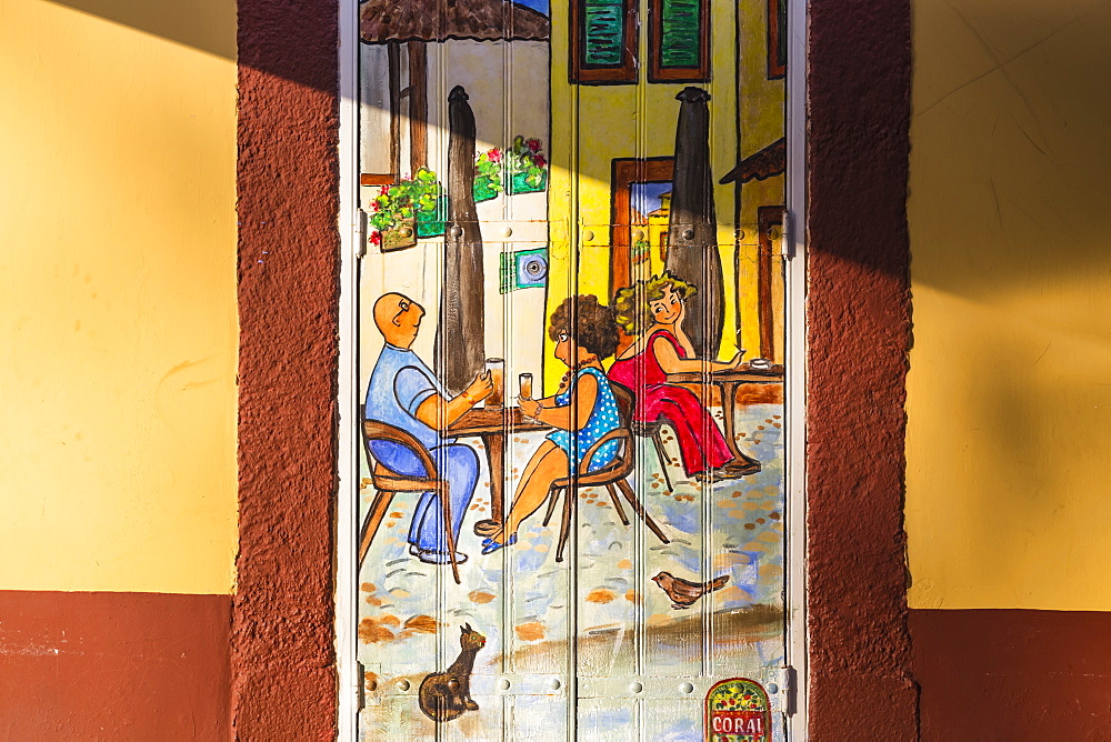 Portugal, Madeira, Funchal, Painted doors in Rue Da Santa maria