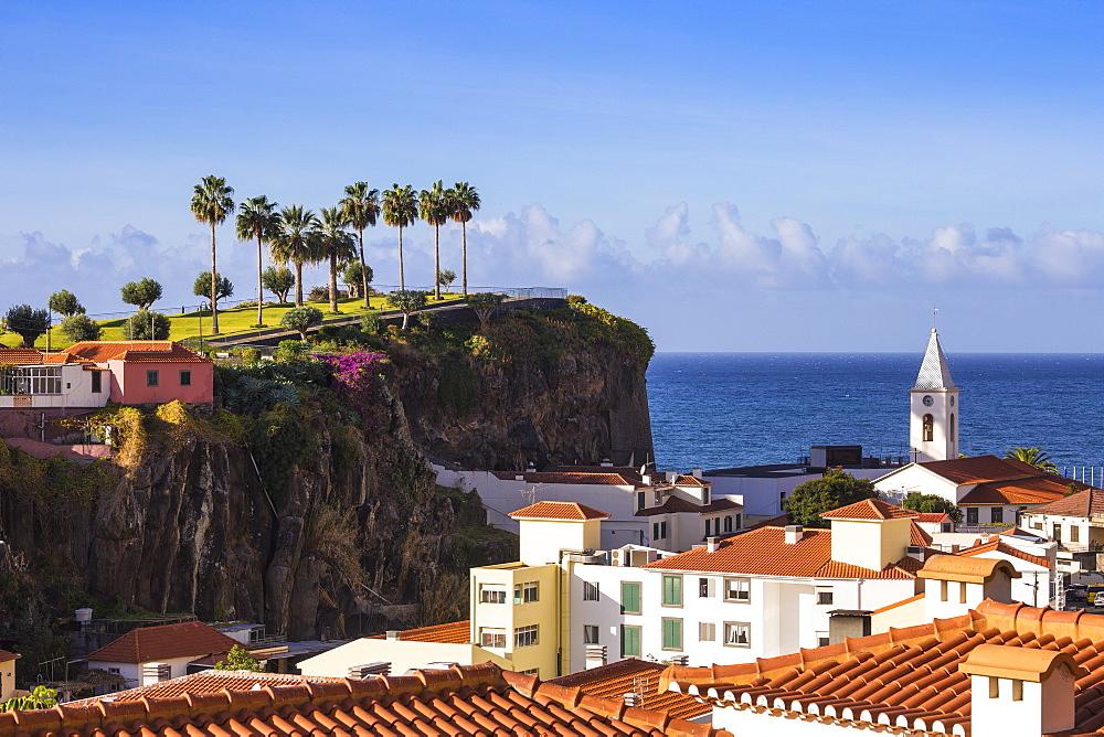 View of Camara de Lobos beneath Ilheu gardens, Funchal, Madeira, Portugal, Atlantic, Europe
