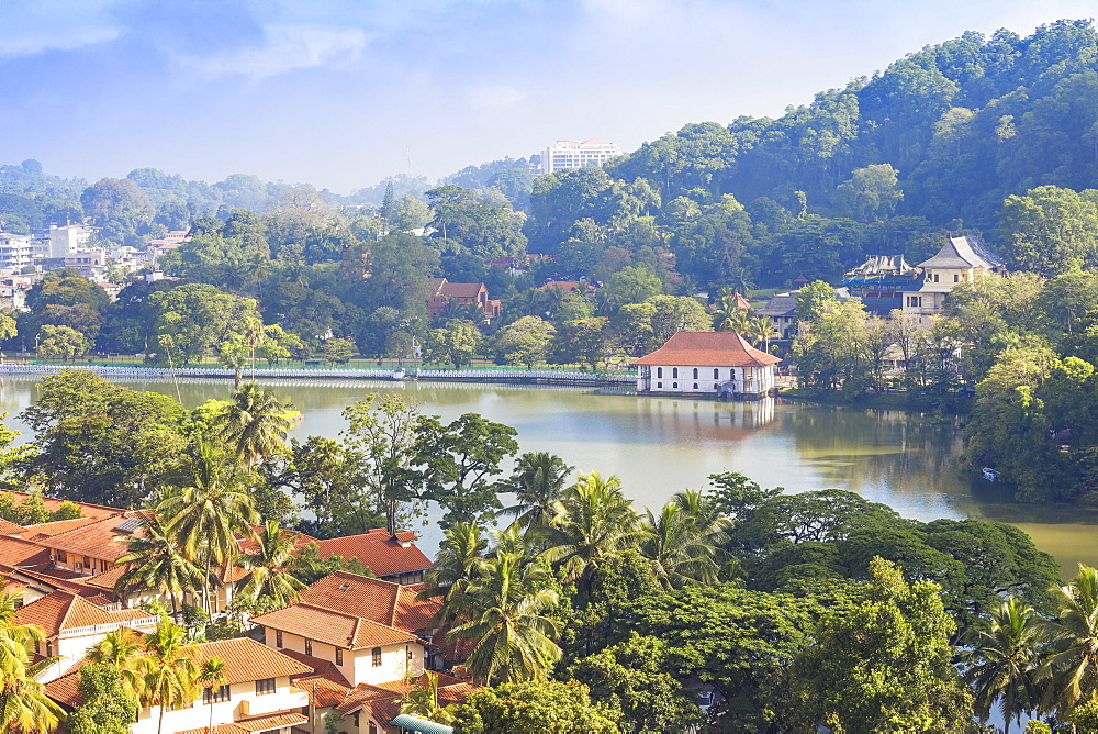 View of Kandy Lake, Kandy, UNESCO World Heritage Site, Central Province, Sri Lanka, AsiaAsia