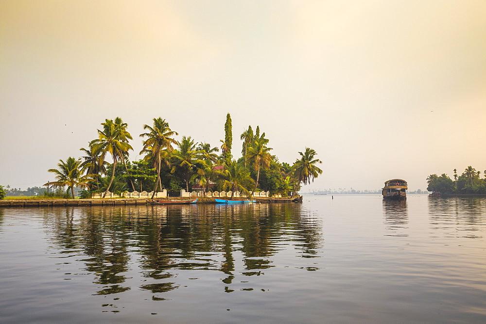 Houseboats on Backwaters, Alappuzha (Alleppey), Kerala, India, Asia