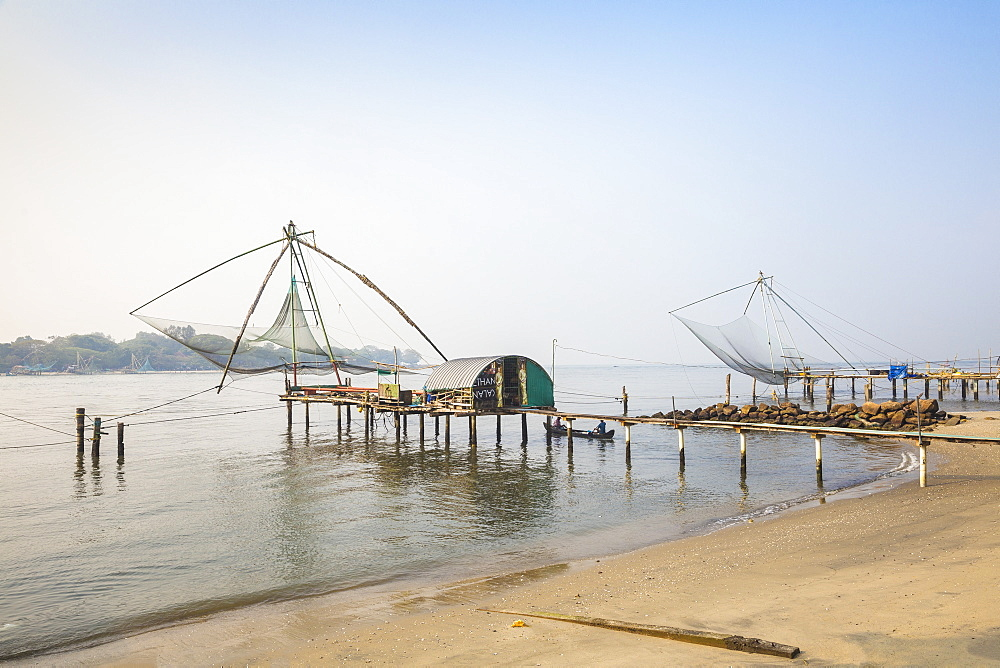 India, Kerala, Cochin - Kochi, Vipin Island, Chinese fishing nets