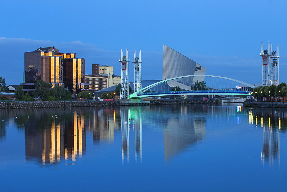 The Lowry footbridge and Imperial War Museum North, Salford Quays, Salford, Manchester, England, United Kingdom, Europe - 1104-1817