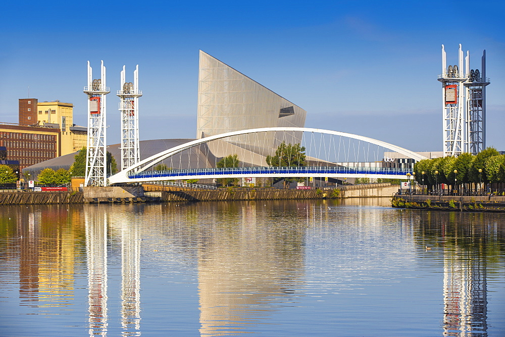 The Lowry footbridge and Imperial War Museum North, Salford Quays, Manchester, England, United Kingdom, Europe - 1104-1819