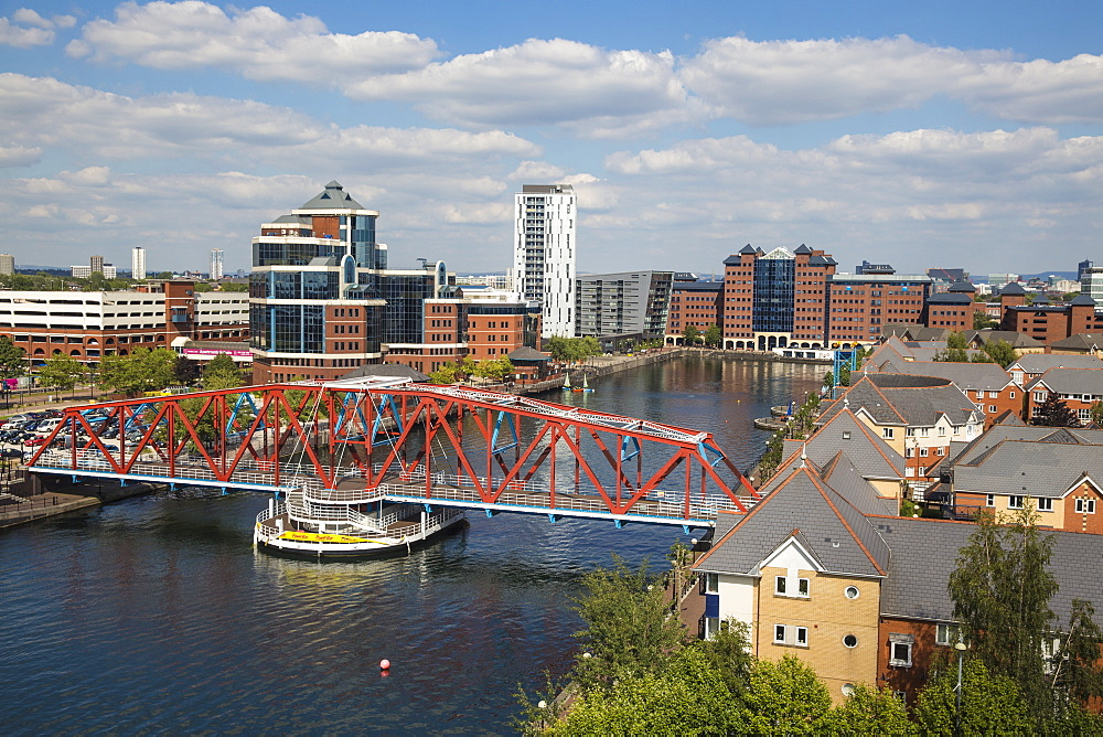 View of Salford Quays, Salford, Manchester, England, United Kingdom, Europe - 1104-1820