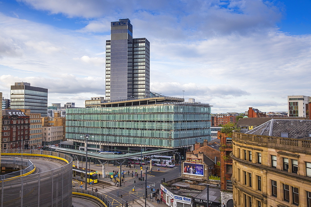 View looking over Arndale car park towards Studehill interchange, Manchester, England, United Kingdom, Europe - 1104-1829