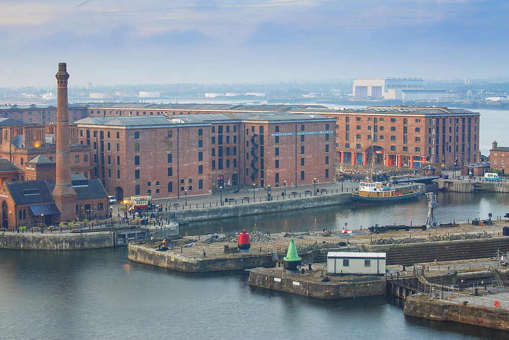 View of Albert Docks, UNESCO World Heritage Site, Liverpool, Merseyside, England, United Kingdom, Europe