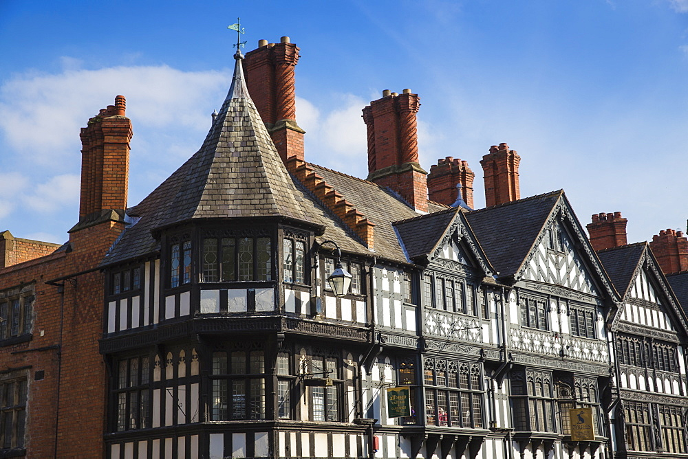 Tudor buildings in city center, Chester, Cheshire, England, United Kingdom, Europe - 1104-1843