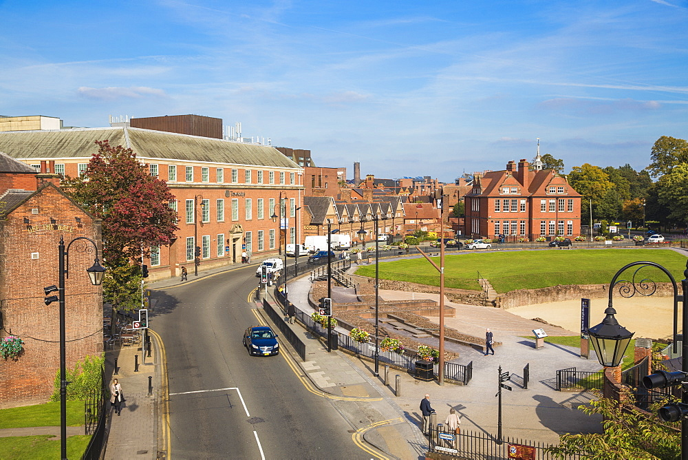 View of Little St. John Street and Chester Roman Amphitheatre, Chester, Cheshire, England, United Kingdom, Europe