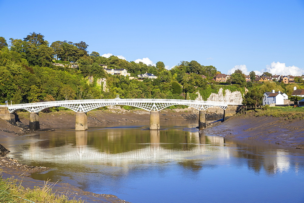 Bridge over River Wye, Border crossing of Gloucestershire, England and Monmouthshire, Chepstow, Monmouthshire, Wales, United Kingdom, Europe - 1104-1880