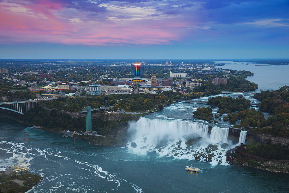 View of Rainbow Bridge and The American Falls, Niagara Falls, Niagara, border of New York State, and Ontario Canada, North America