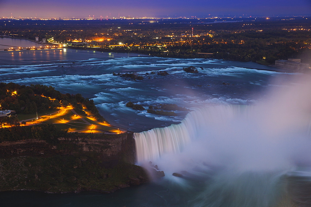 View of Horseshoe Falls, Niagara Falls, Niagara, border of New York State, and Ontario, Canada, North America