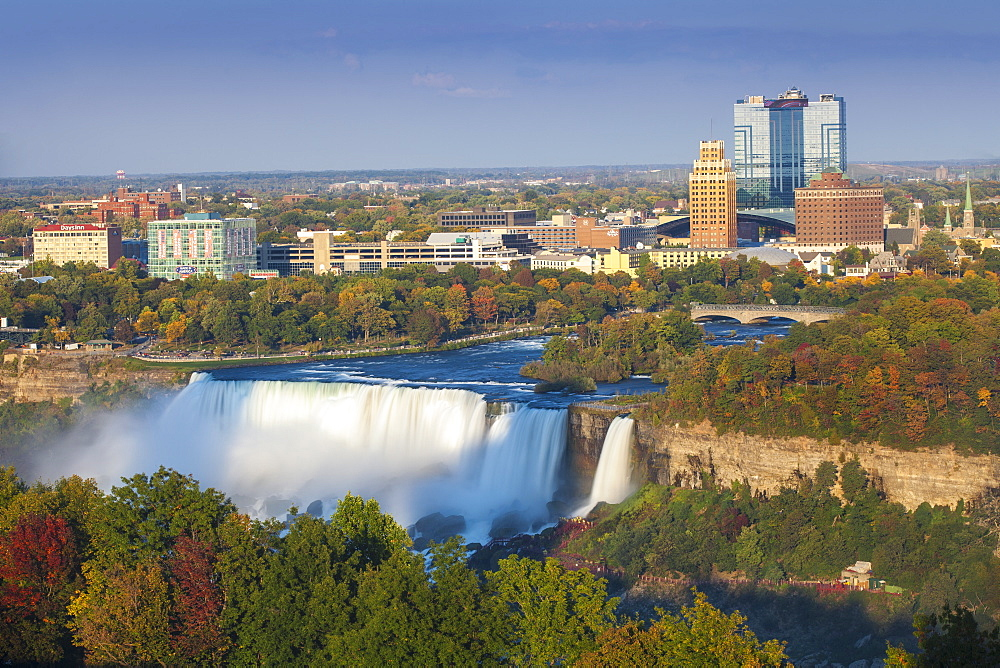 View of The American and Bridal Veil Falls, Niagara Falls, Niagara, border of New York State, and Ontario, Canada, North America
