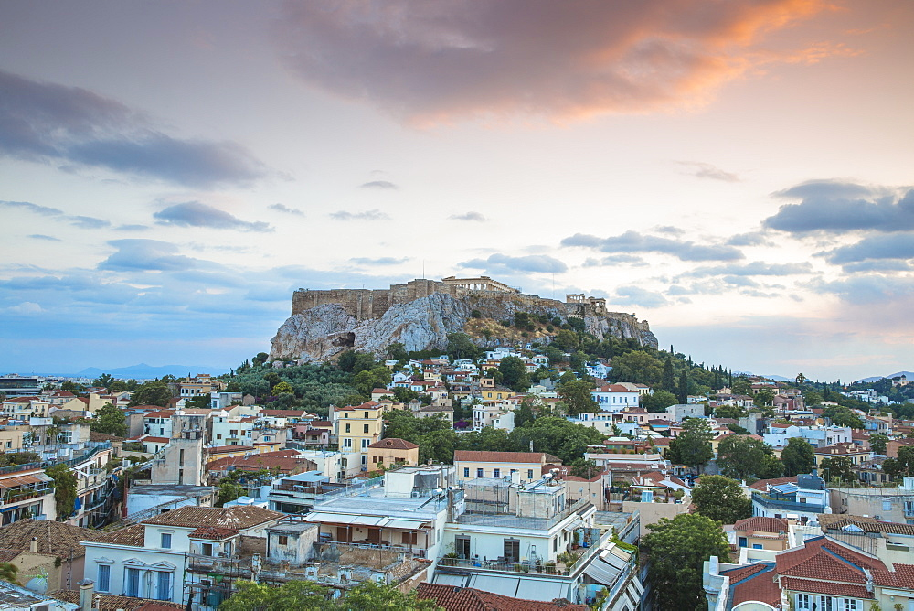 View of Plaka and The Acropolis at sunset, Athens, Greece, Europe