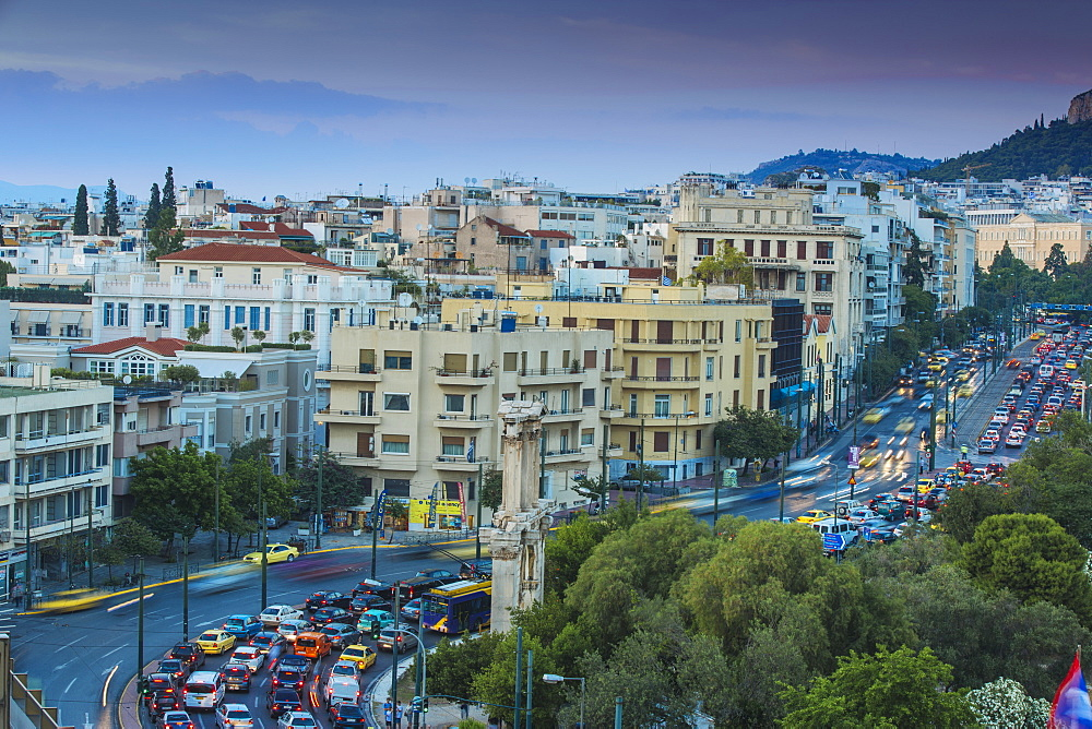 View of Leoforos Vasilissis Amalias towards Lykavittos Hill, Athens, Greece, Europe
