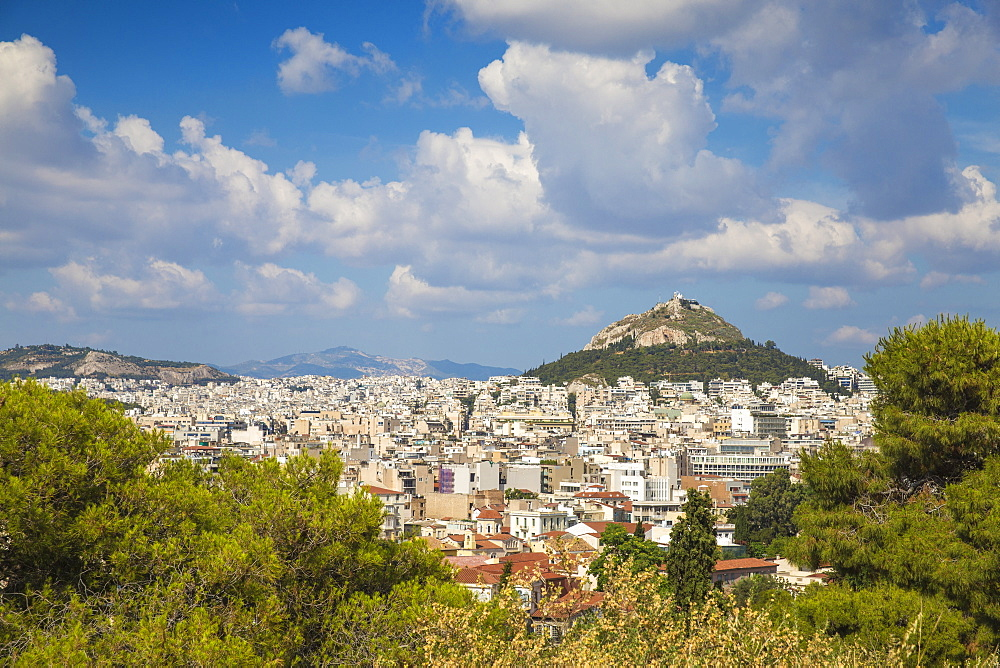 View of Central Athens looking towards Lykavittos Hill, Athens, Greece, Europe