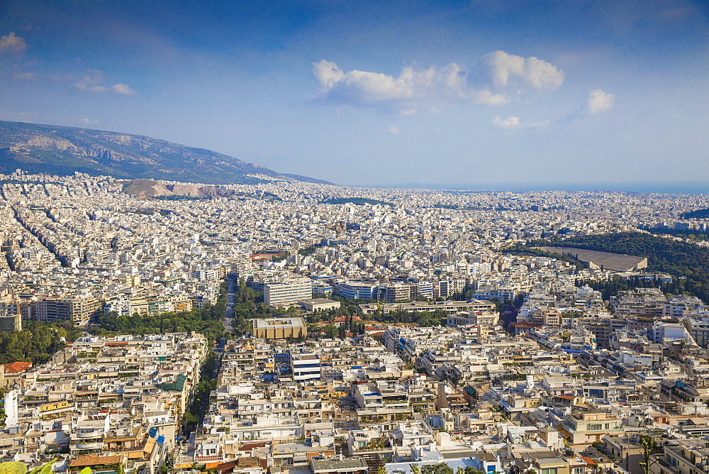 View of Athens from Lykavittos Hill, Athens, Greece, Europe