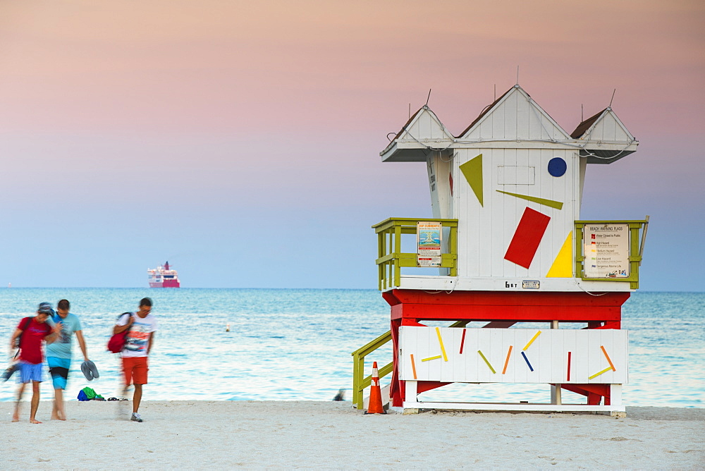 Life guard beach hut, South Beach, Miami Beach, Florida, United States of America, North America
