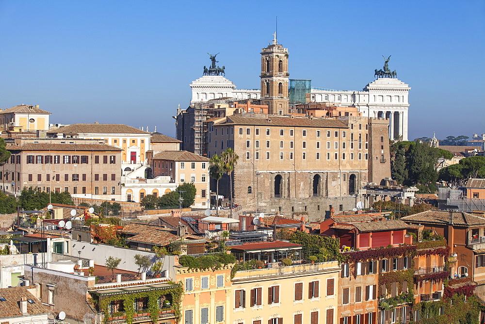 View of Rome looking towards Vittorio Emanuele II Monument, Rome, Lazio, Italy, Europe