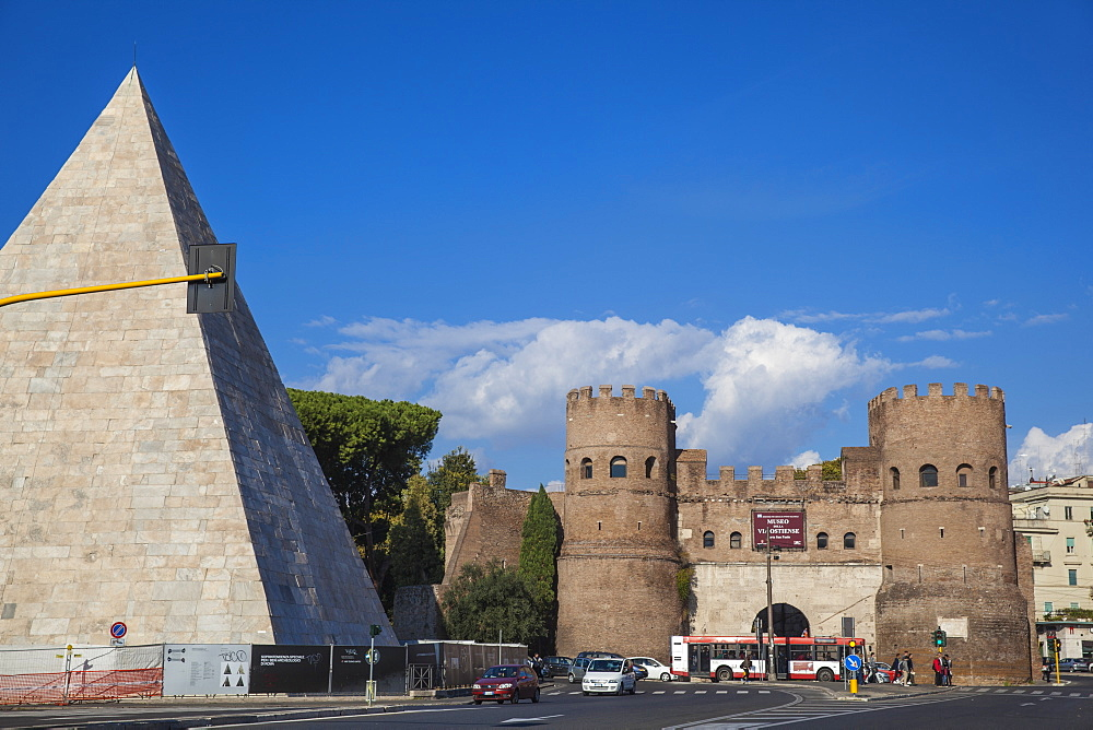 The Pyramid of Cestius and St. Paul's Gate, Rome, Lazio, Italy, Europe