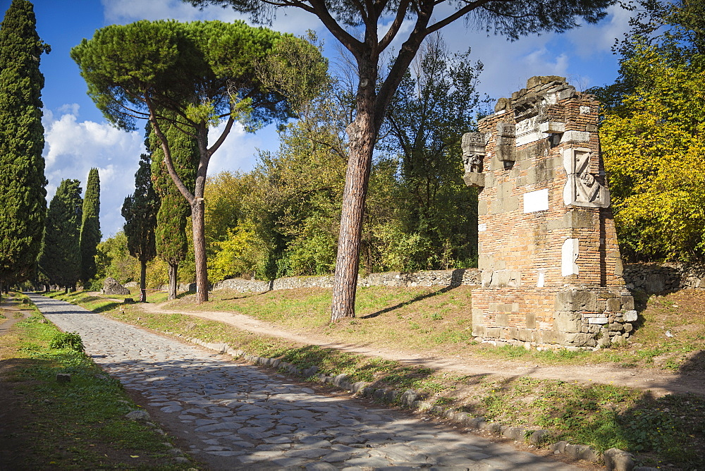 Ancient Appian Way, ancient Roman road, Rome, Lazio, Italy, Europe
