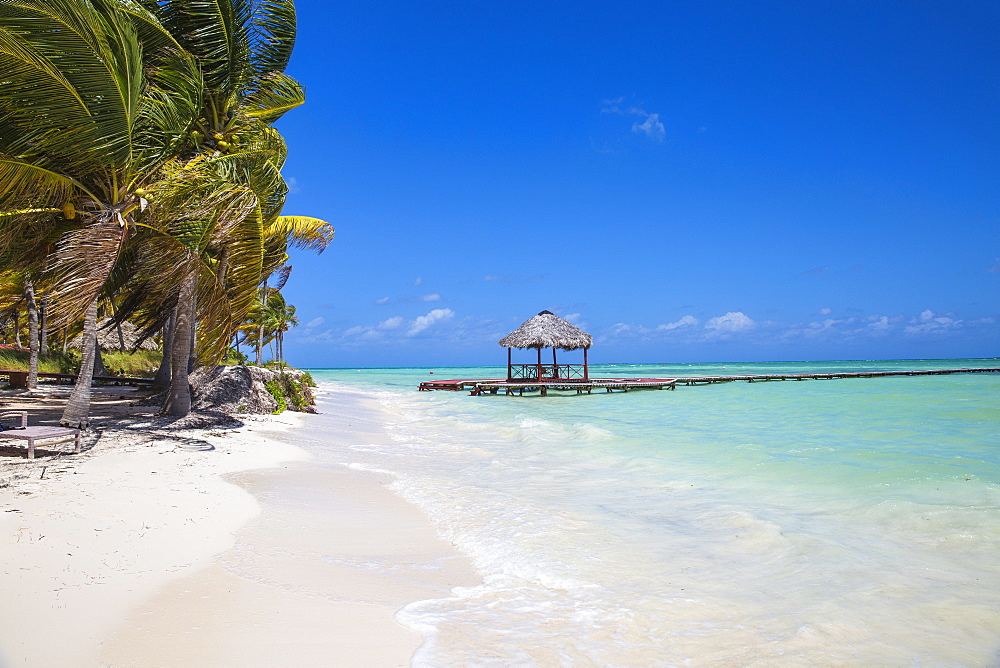 Wooden red jetty, Playa El Paso, Cayo Guillermo, Jardines del Rey, Ciego de Avila Province, Cuba, West Indies, Caribbean, Central America