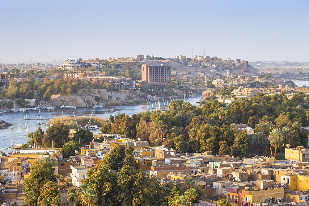 Egypt, Upper Egypt, Aswan, View of Aswan looking over Elephantine Island towards The Cataract Hotel - 1104-783
