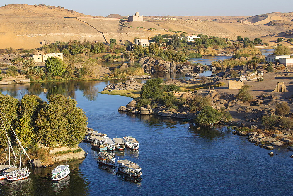 Egypt, Upper Egypt, Aswan, View of The River Nile and The Mausoleum of Aga Khan on the West Bank - 1104-785
