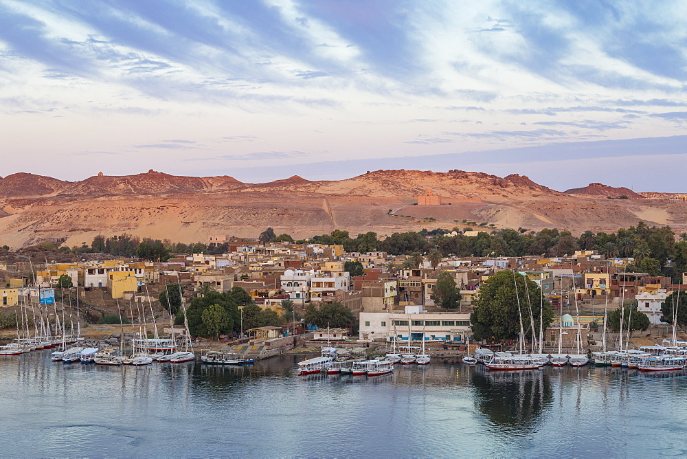 Egypt, Upper Egypt, Aswan, View of The River Nile and Nubian village on Elephantine Island - 1104-796