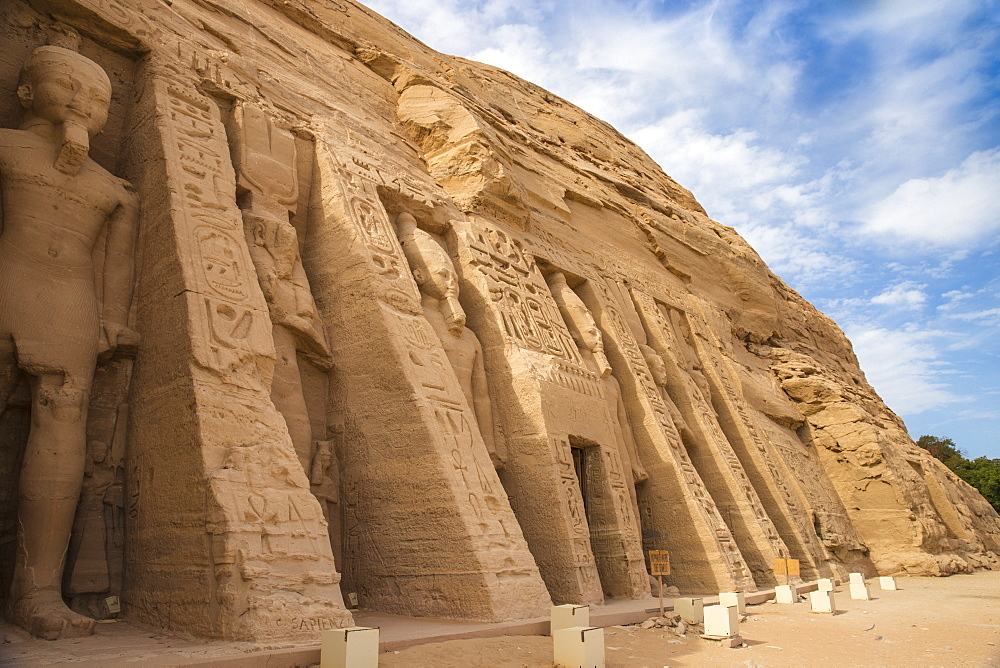 Egypt, Abu Simbel, The small temple -dedicated to Nefertari and adorned with statues of the King and Queen - 1104-801