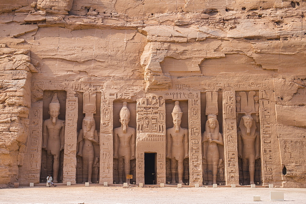 Egypt, Abu Simbel, The small temple -dedicated to Nefertari and adorned with statues of the King and Queen - 1104-803