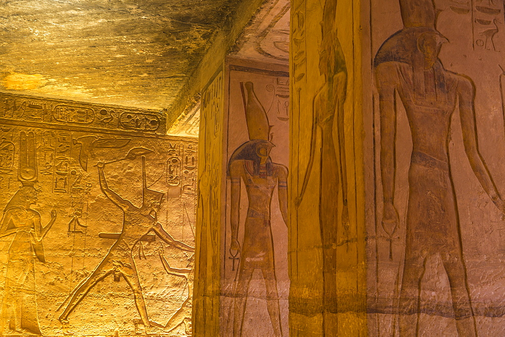Egypt, Abu Simbel, The small temple - dedicated to Nefertari, Mural reliefs in the hypostyle hall - 1104-804