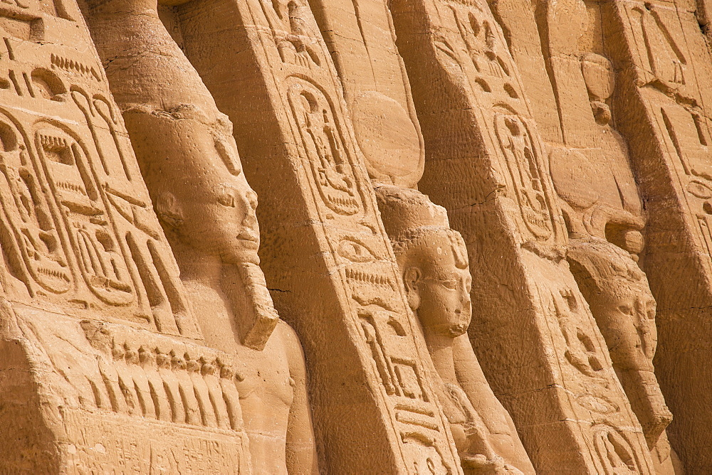 Egypt, Abu Simbel, The small temple -dedicated to Nefertari and adorned with statues of the King and Queen - 1104-807