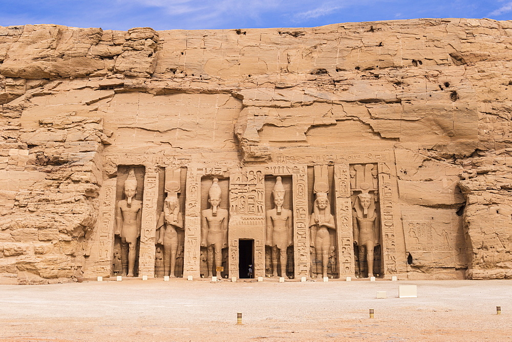 Egypt, Abu Simbel, The small temple -dedicated to Nefertari and adorned with statues of the King and Queen - 1104-809