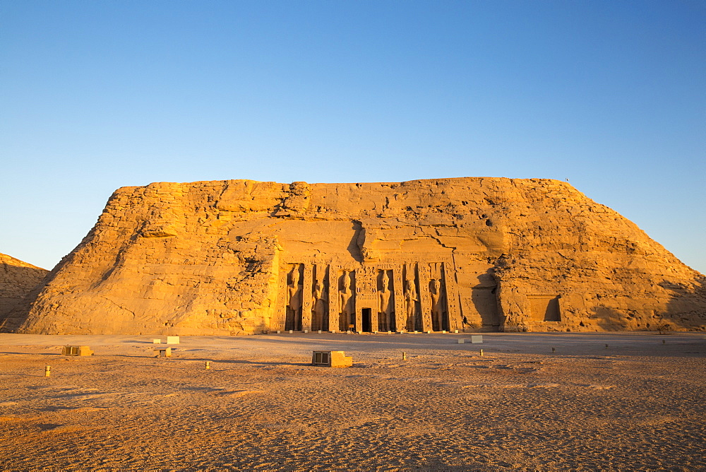 Egypt, Abu Simbel, The small temple -dedicated to Nefertari and adorned with statues of the King and Queen - 1104-811