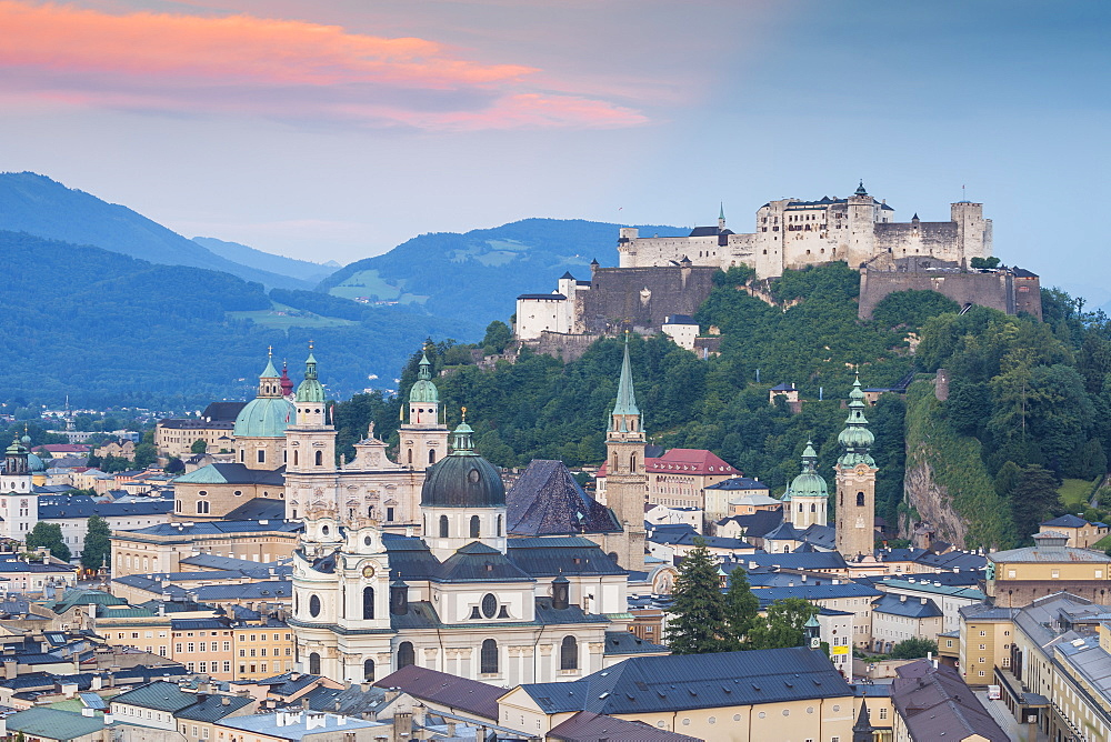 View of Hohensalzburg Castle above The Old City, UNESCO World Heritage Site, Salzburg, Austria, Europe