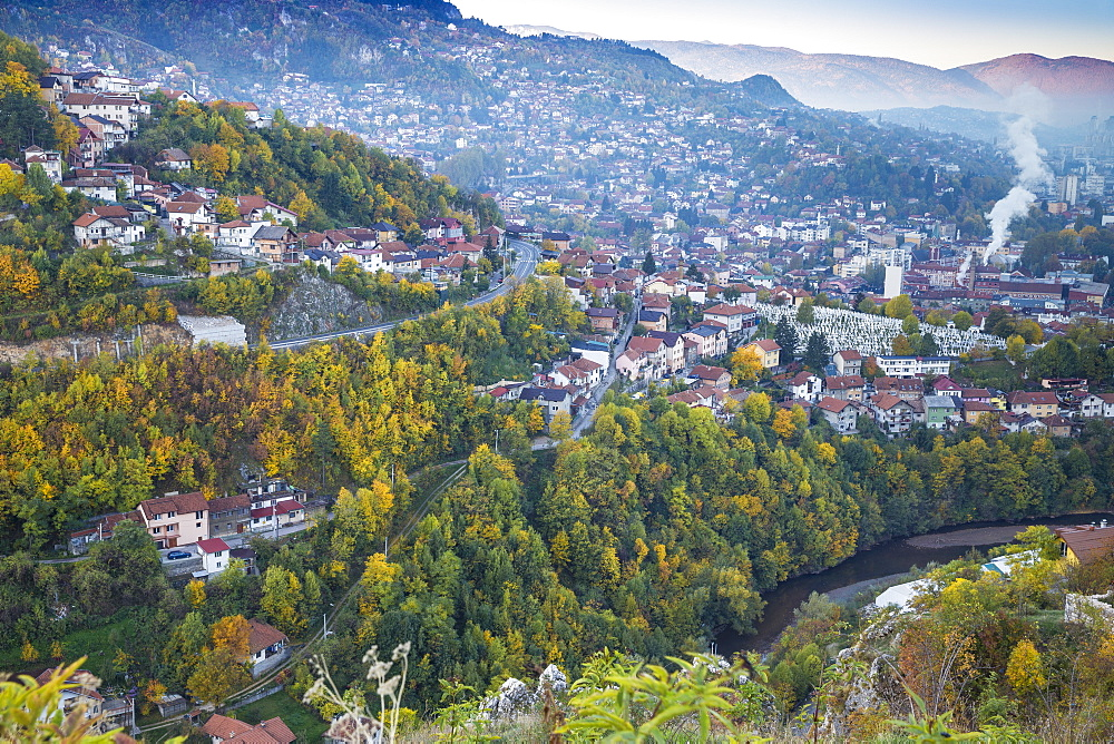 View of Alifakovac graveyard, where Muslim foreigners are buried, and City, Sarajevo, Bosnia and Herzegovina, Europe - 1104-995