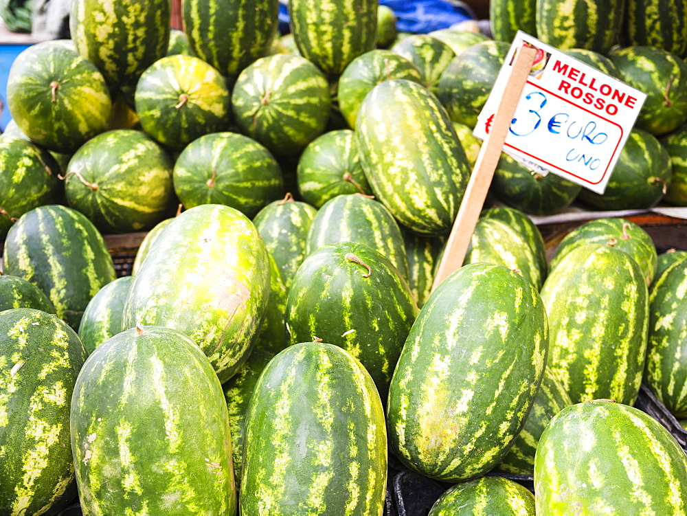 Watermelons for sale at Capo Market, a fruit, vegetable and general food market in Palermo, Sicily, Italy, Europe