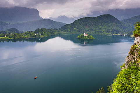 View of Lake Bled from Lake Bled Castle, Bled, Julian Alps, Gorenjska, Upper Carniola Region, Slovenia, Europe