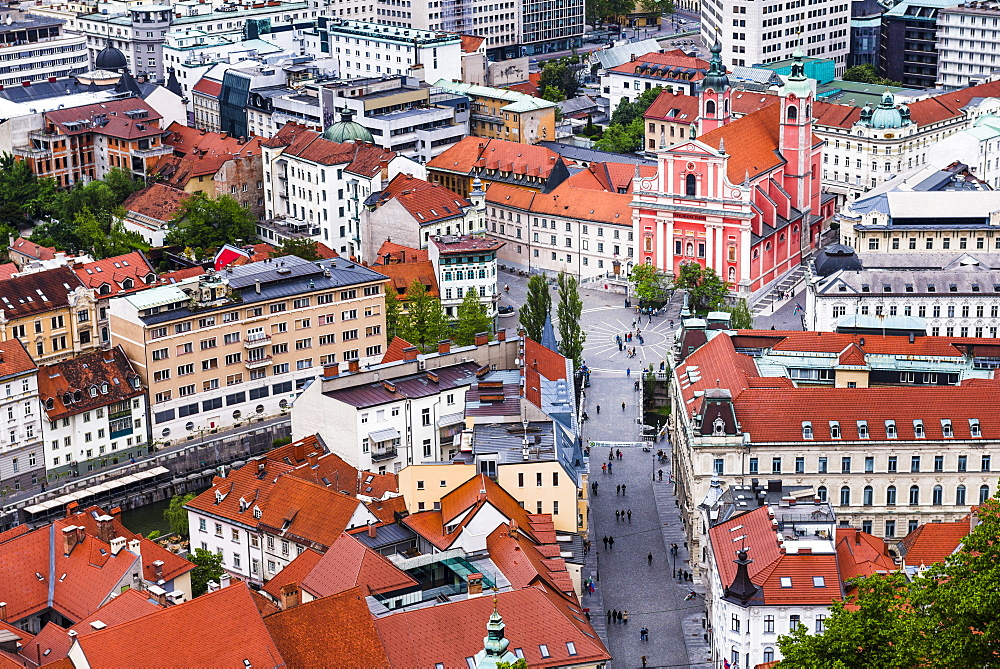 Franciscan Church of the Annunciation in Preseren Square, seen from Ljubljana Castle in Ljubljana Old Town, Slovenia, Europe