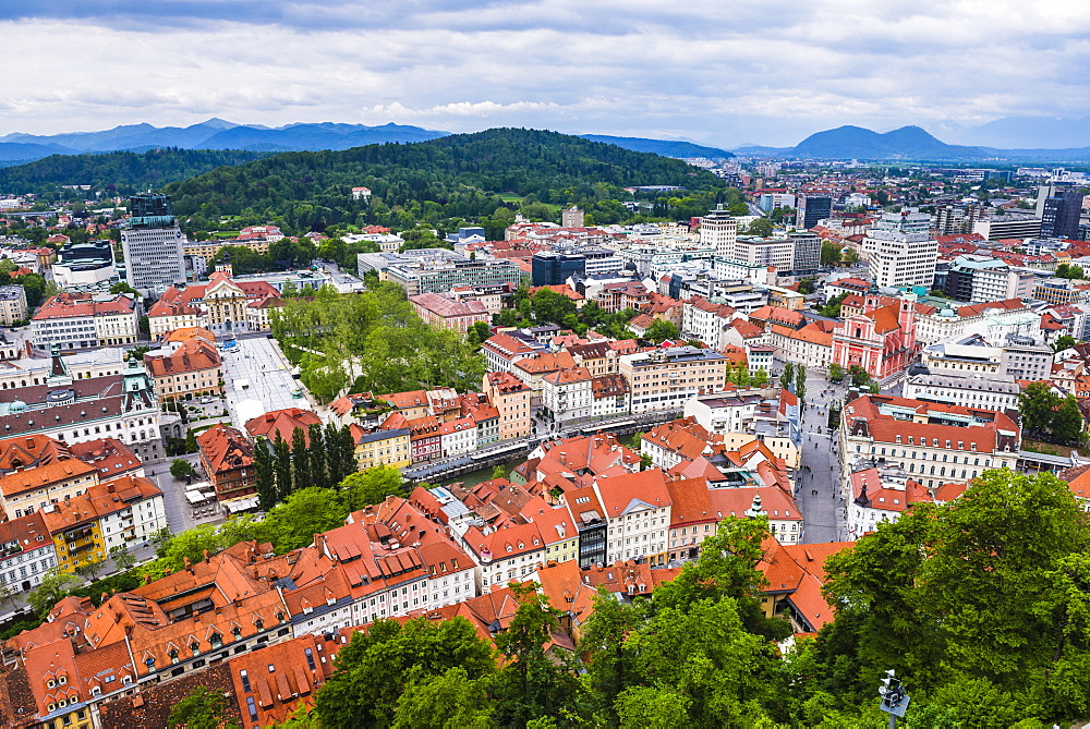 Aerial view of Ljubljana city, seen from Ljubljana Castle, Slovenia, Europe