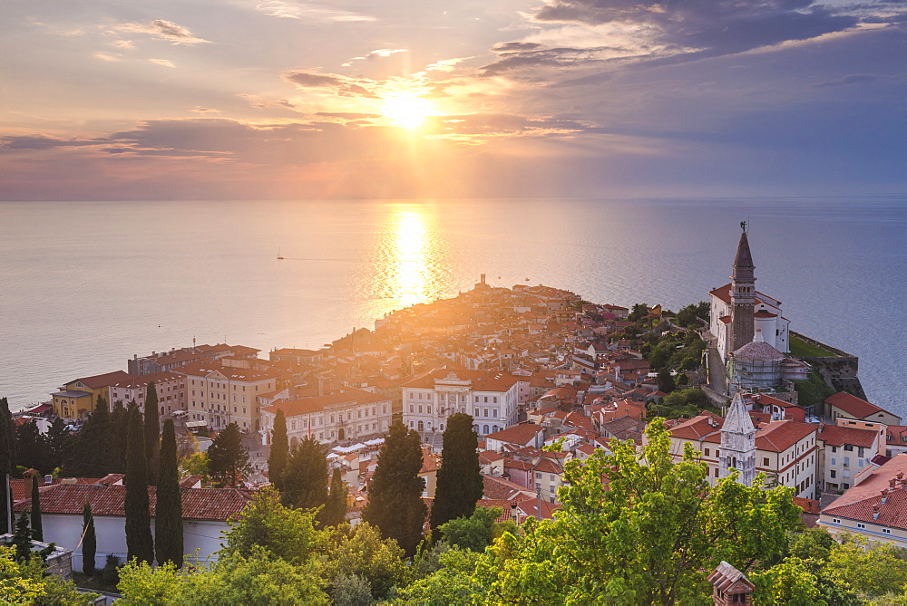 Piran at sunset, and the Mediterranean Sea, seen from Piran Town Walls, Piran, Primorska, Slovenian Istria, Slovenia, Europe