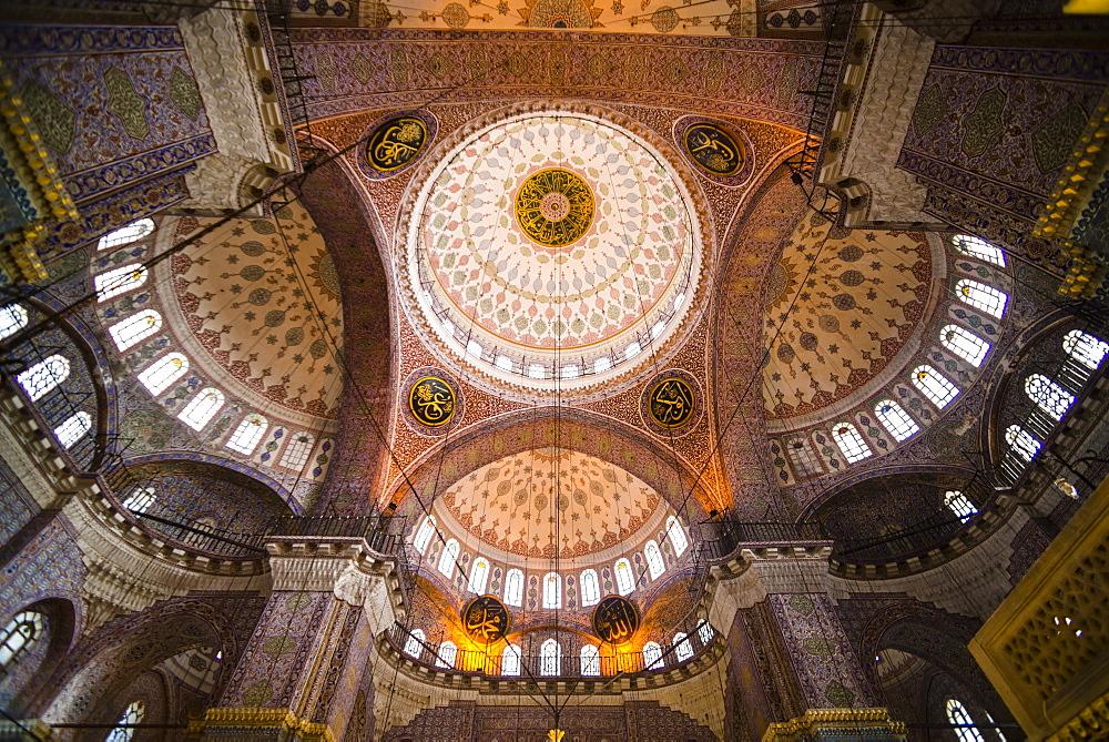 New Mosque (Yeni Mosque) interior, Istanbul, Turkey, Europe