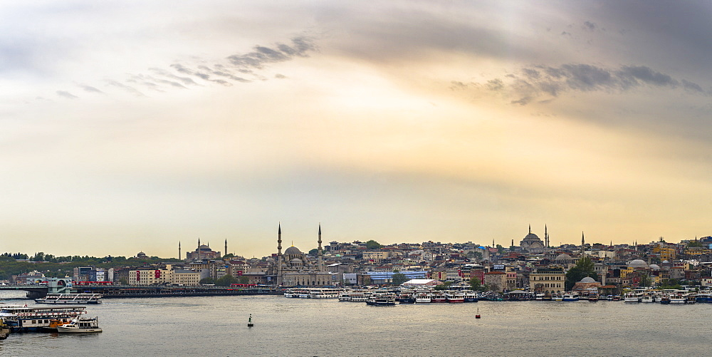 Hagia Sophia and New Mosque seen across Golden Horn at sunset, Istanbul, Turkey, Europe